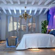 地中海风格简约卧室紫色床饰装饰