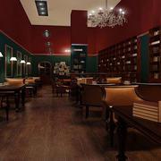 美式深色系咖啡厅背景墙装饰