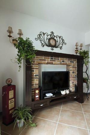 客厅美式仿石制背景墙装饰