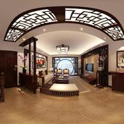 中式简约风格跃层复古客厅装饰