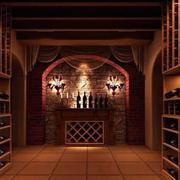 美式简约原木酒窖酒架装饰