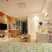 公寓客厅珠帘隔断效果图