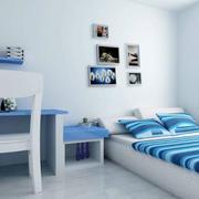 蓝色系卧室床头背景墙装饰