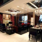 三室一厅深色别墅客厅设计
