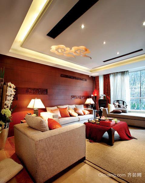 200平米中式时尚多彩的带有古韵的独栋别墅装修效果图