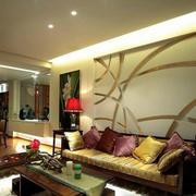 中式客厅简约沙发背景墙