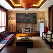 东南亚风格原木系客厅装饰