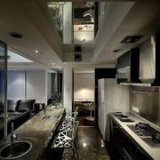 后现代风格深色系厨房效果图