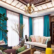 别墅客厅简约原木吊顶装饰