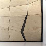 简约风格公寓原木背景墙装饰