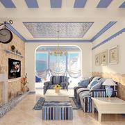 地中海简约浅蓝色客厅装饰