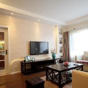 两室一厅简约风格石膏板电视背景墙