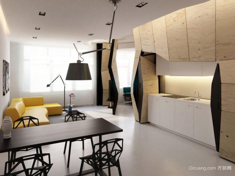 用不规则形状最大化利用空间单身公寓装修效果图