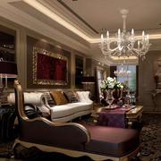 美式简约风格别墅客厅沙发装饰