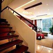 别墅简约原木楼梯装饰