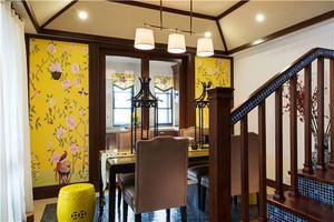 别墅餐厅印花背景墙装饰