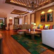 东南亚客厅原木吊顶装饰