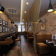 咖啡厅简约风格卡座设计