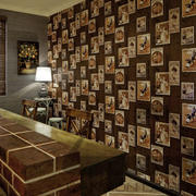 美式公装餐厅照片墙装修