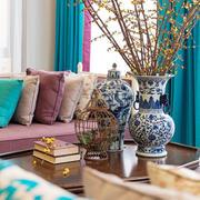 别墅客厅原木茶几装饰