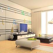 后现代风格客厅电视墙隐形门装饰