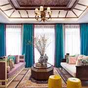 别墅简约风格客厅美式灯饰效果图