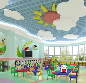 幼儿园教室清新吊顶装饰