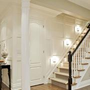 跃层简约原木白色楼梯设计