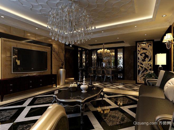 唯美浪漫的欧式客厅吊顶装修效果图