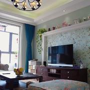 两室一厅美式小碎花背景墙