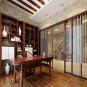 中式别墅书房效果图