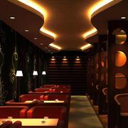 后现代风格暖色系咖啡厅吊顶