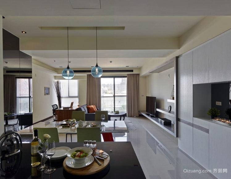 一直都很简洁 台式风格三室一厅室内软装设计效果图
