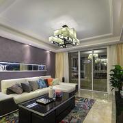 混搭风格客厅浅色沙发效果图