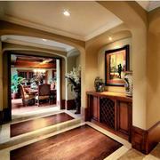 美式样板房客厅拱形门装饰