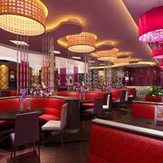 现代简约咖啡厅圆形吊顶灯饰装饰