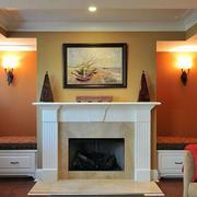 美式小型简约风格客厅壁炉