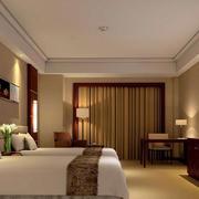 简约中式风格宾馆效果图