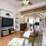 欧式田园风格复式楼客厅装饰