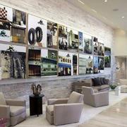 大型咖啡店简约照片墙装修