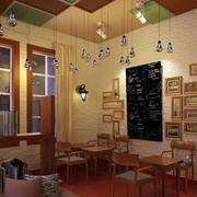 咖啡厅简约风格背景墙装饰