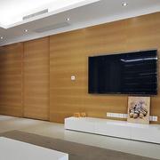 简约原木客厅隐形门设计