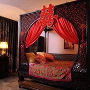 中式复古婚房床饰装饰
