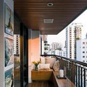 简约阳台原木吊顶装饰