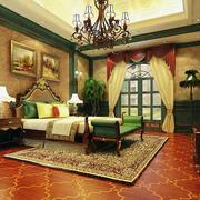 美式样板房卧室背景墙装饰