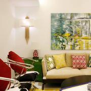 复式楼混搭风格沙发背景墙
