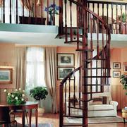 中式原木木楼梯设计