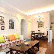 两室一厅简约风格客厅拱形门装饰