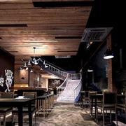 复古风格咖啡馆原木吊顶装饰
