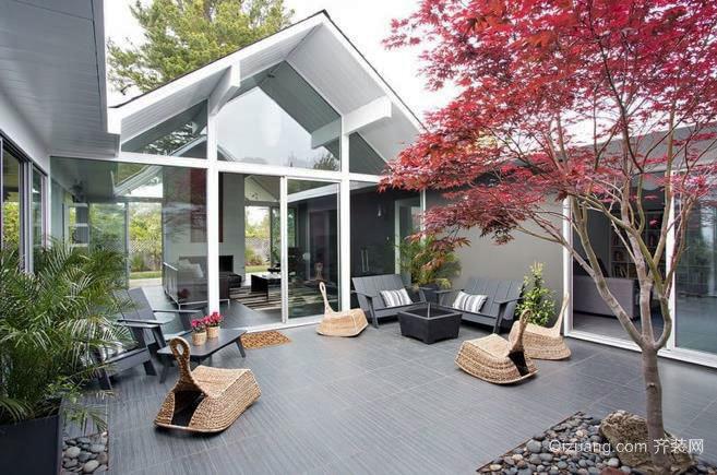 恬静和谐 安静美好的别墅露台效果图